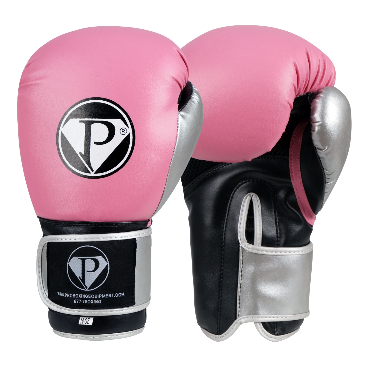 PRO Boxing Gloves Pink Black Silver