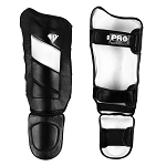 PRO Leather MMA Shin guards Black White