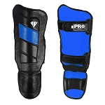PRO Leather Shin guards Black Blue