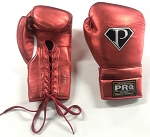 PRO Boxing Gloves 14 oz Lace Up Metallic Red