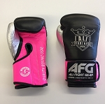 AFG Boxing Gloves Leather Velcro Black Hot Pink Metallic Silver Thumb