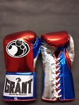 Grant Boxing Gloves Metallic Red Silver Blue 8oz Pro Fight Gloves