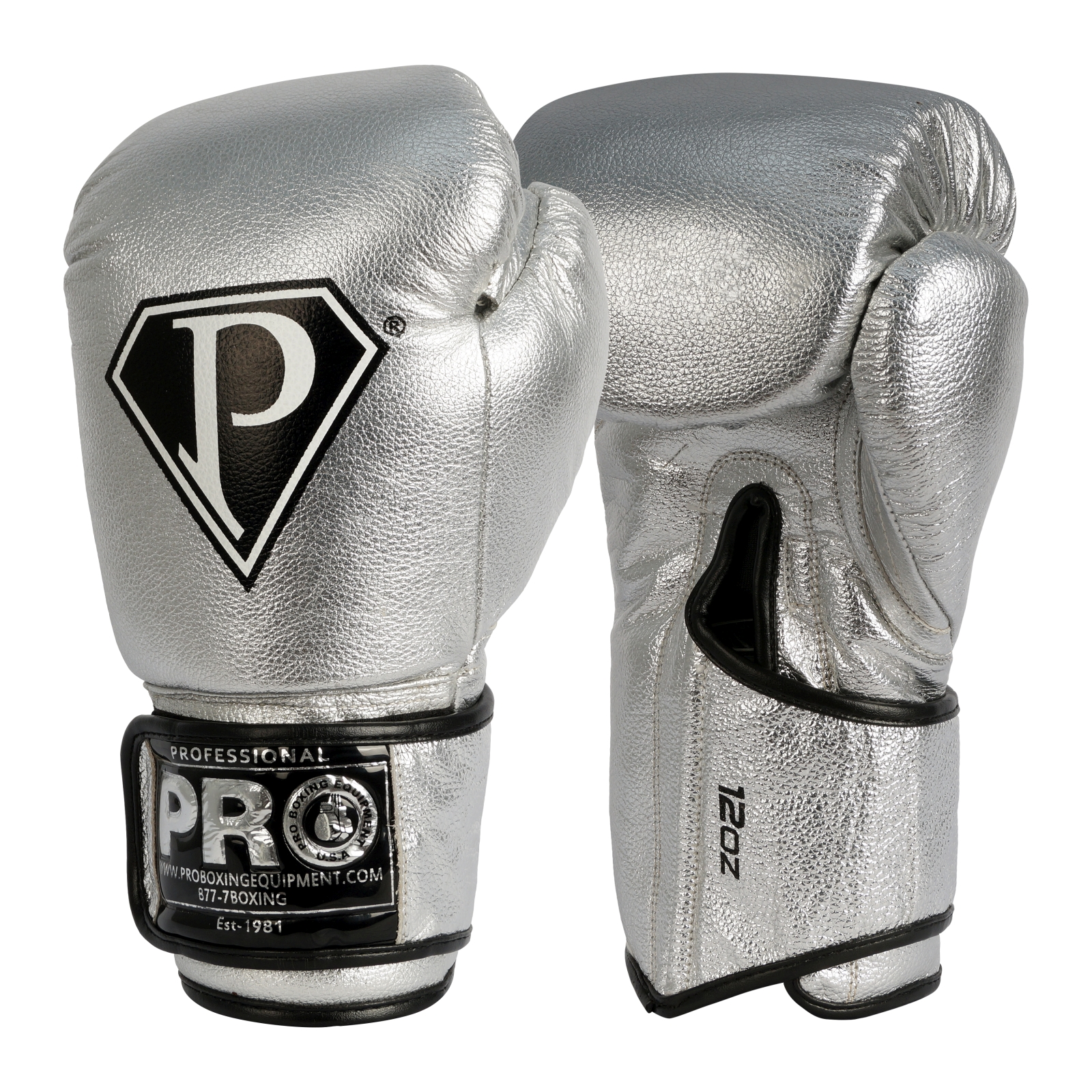 Pro Boxing Gloves Silver Velcro Training Gloves
