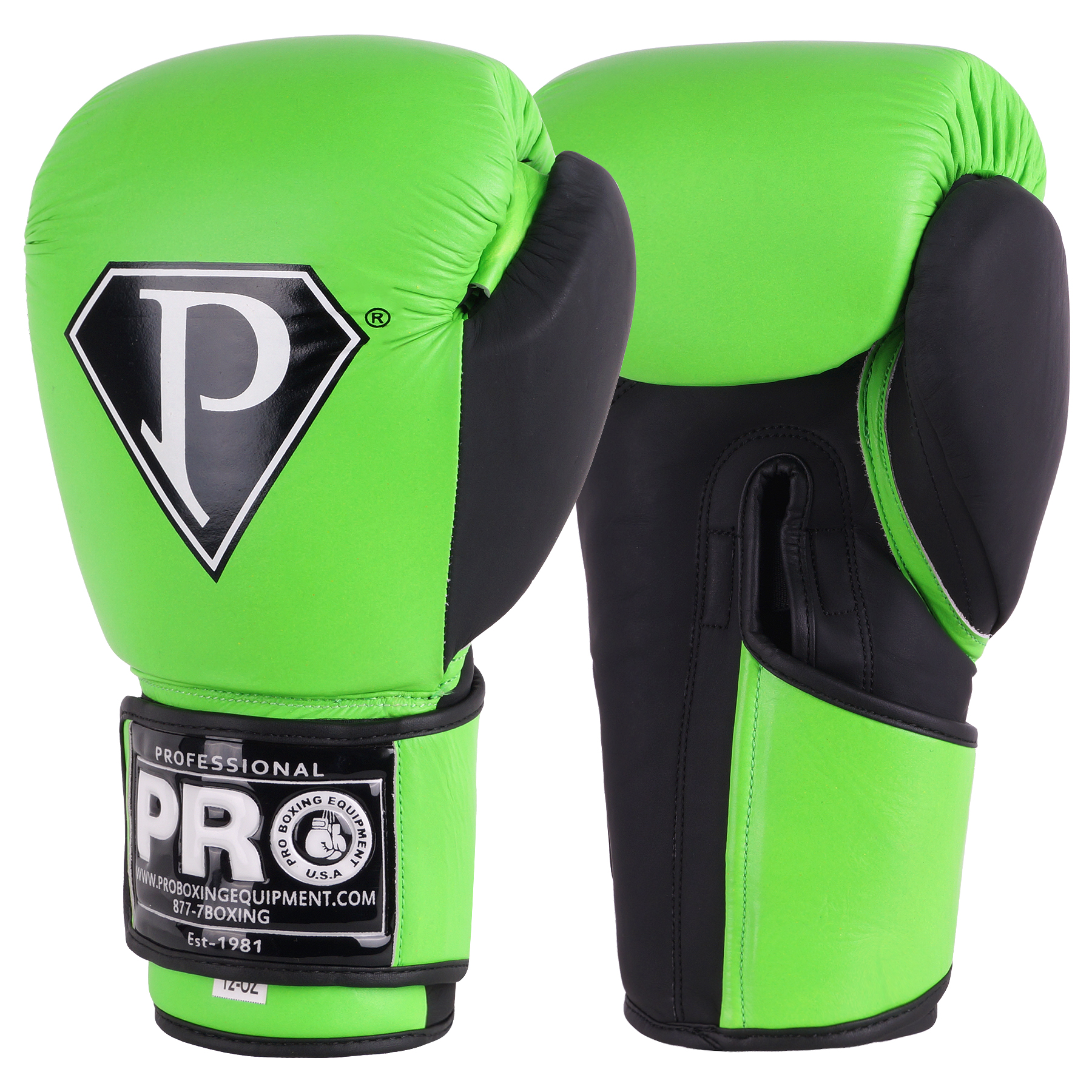 PRO BOXING GLOVES NEON GREEN BLACK