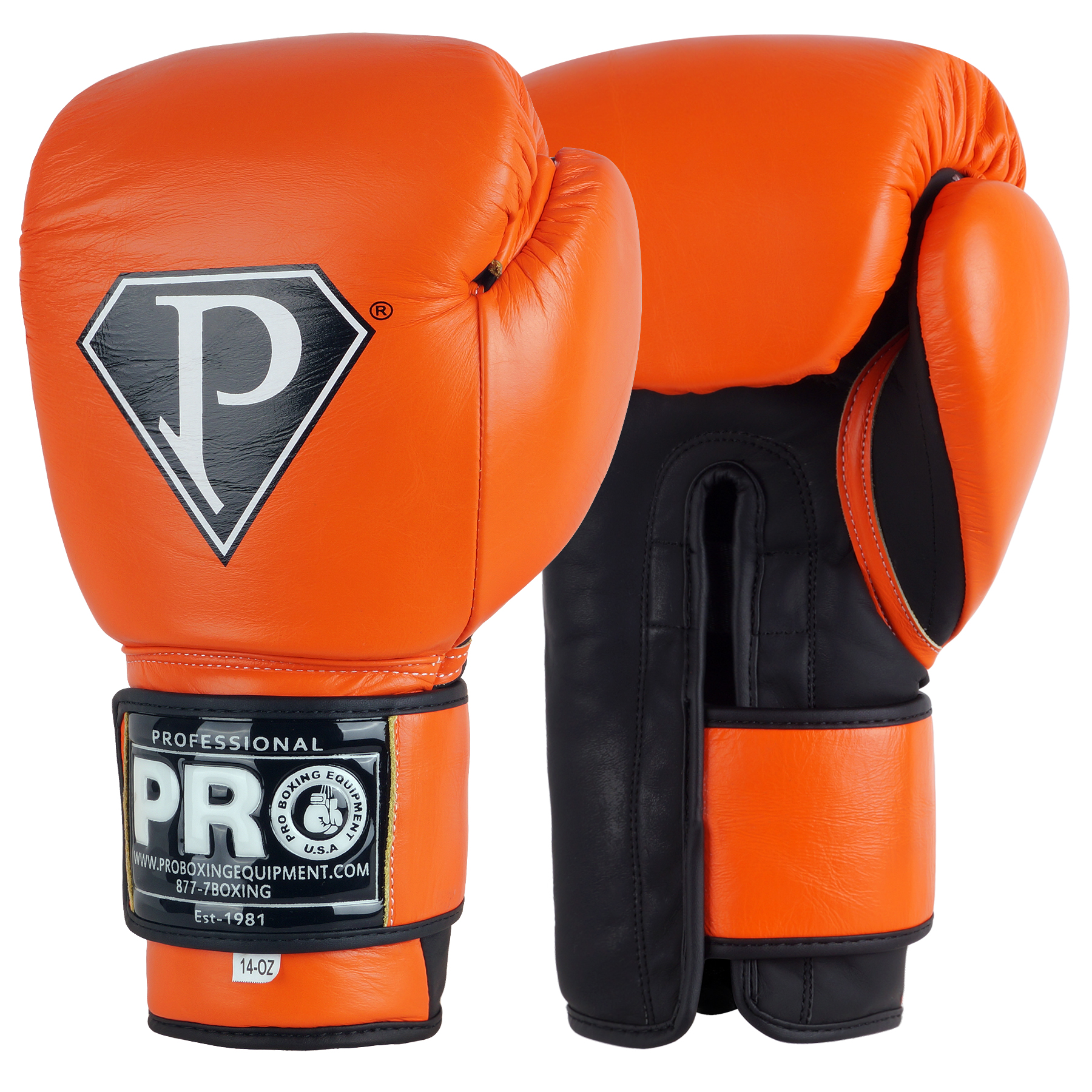PRO Boxing Gloves Light Orange Leather Velcro