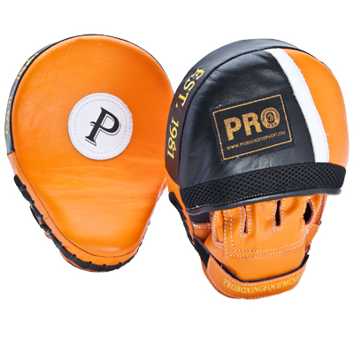 Pro Leather Curve Focus Mitts Orange