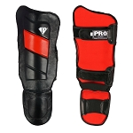 PRO Leather Shin guards Black Red