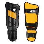PRO Leather Shin guards Black Yellow