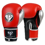 PRO Boxing Gloves Red Black Silver