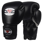 PRO USA Professional Hook-N-Loop Black Boxing Gloves