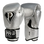 PRO BOXING GLOVES METALLIC SILVER