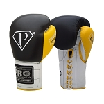PRO Gel Black White & Yellow Boxing Gloves
