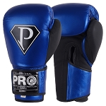 PRO BOXING GLOVES METALLIC BLUE BLACK