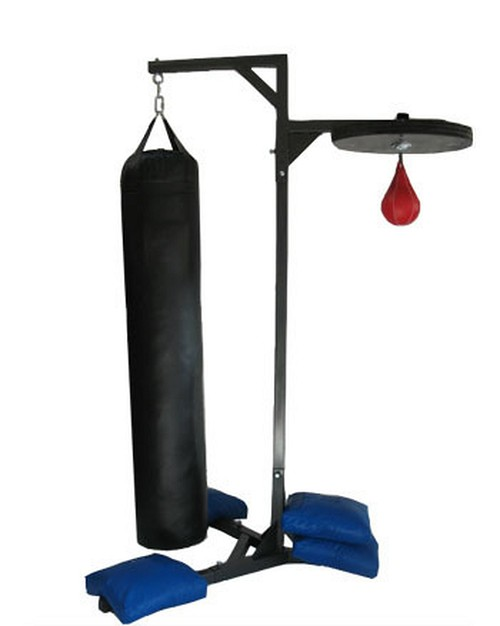 DUAL Punching Bag Stand 350LBS CAPACITY. HEAVY DUTY PUNCHING BAG STAND WITH 4 SAND BAGS