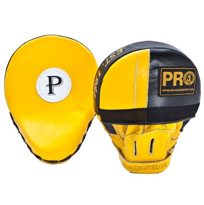 Pro Leather Curve Focus Mitts Yellow